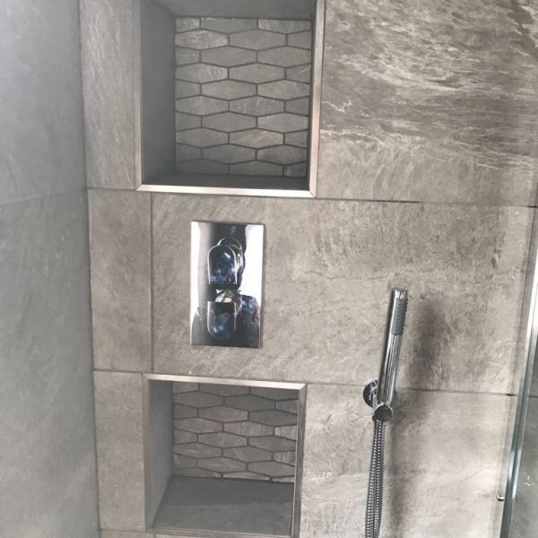 Grey Marble Shower with Built in Holder