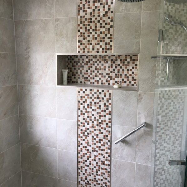 Grey and Tiled Easy access shower