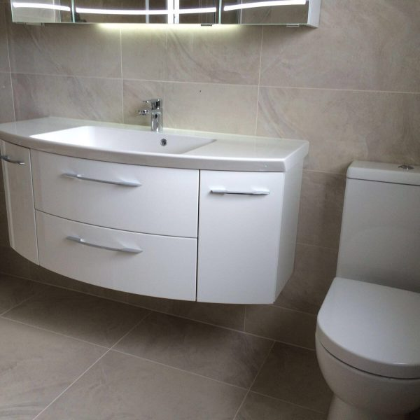 White sink and toilet