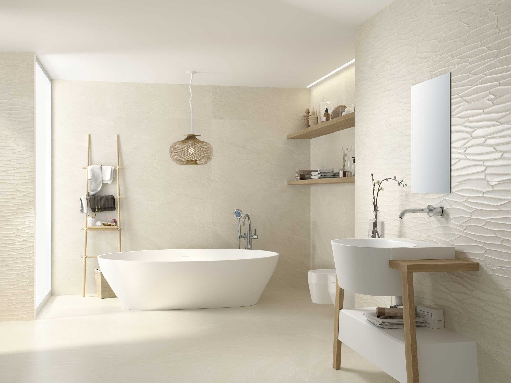 Bream Bathroom with Large Bath and White Sink