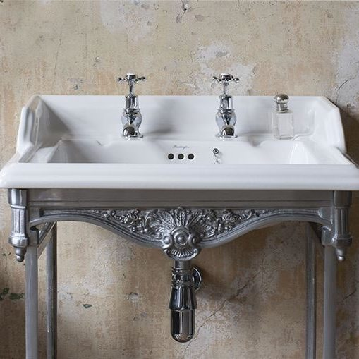 Old Style Bathroom with White and Metallic Sink