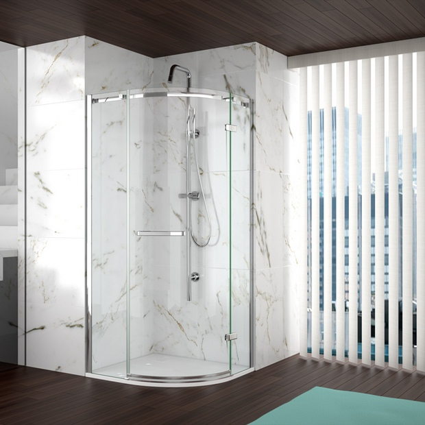 Closed Corner Shower with Marble Tiles