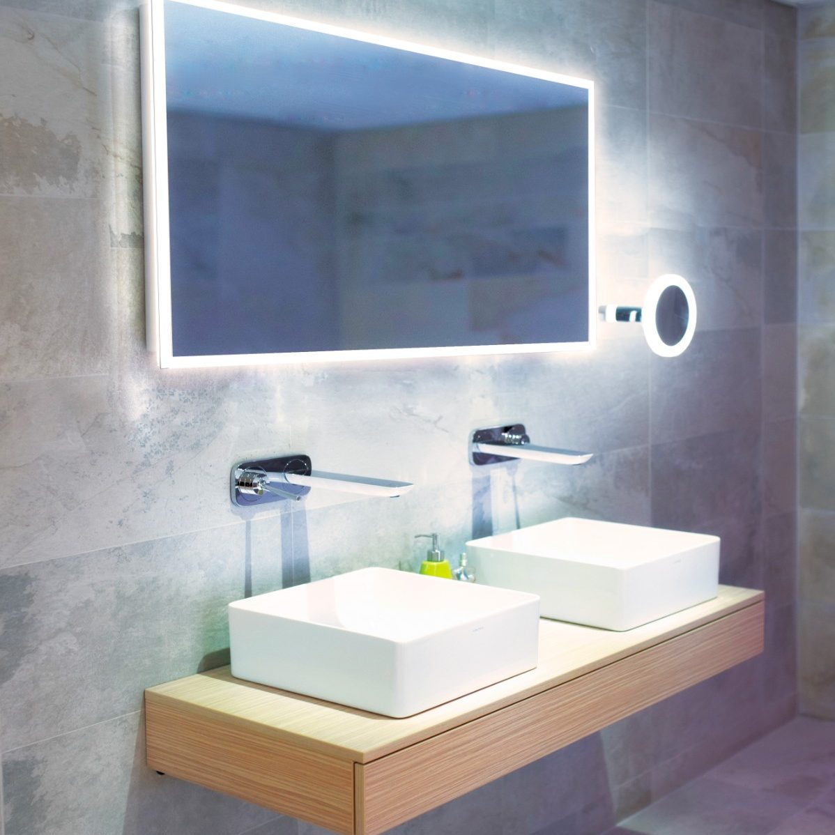 Double Sinks with Large Mounted Wall Mirror