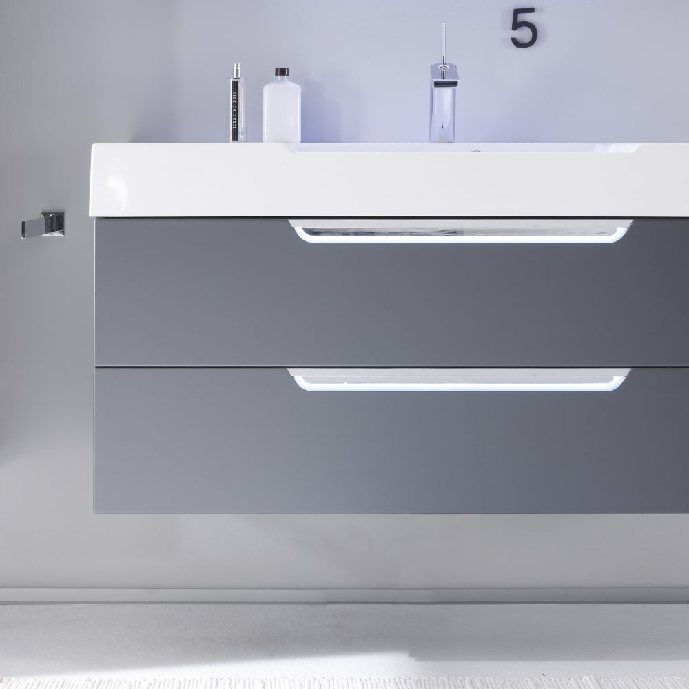 White Square Sink with Double Grey Draws