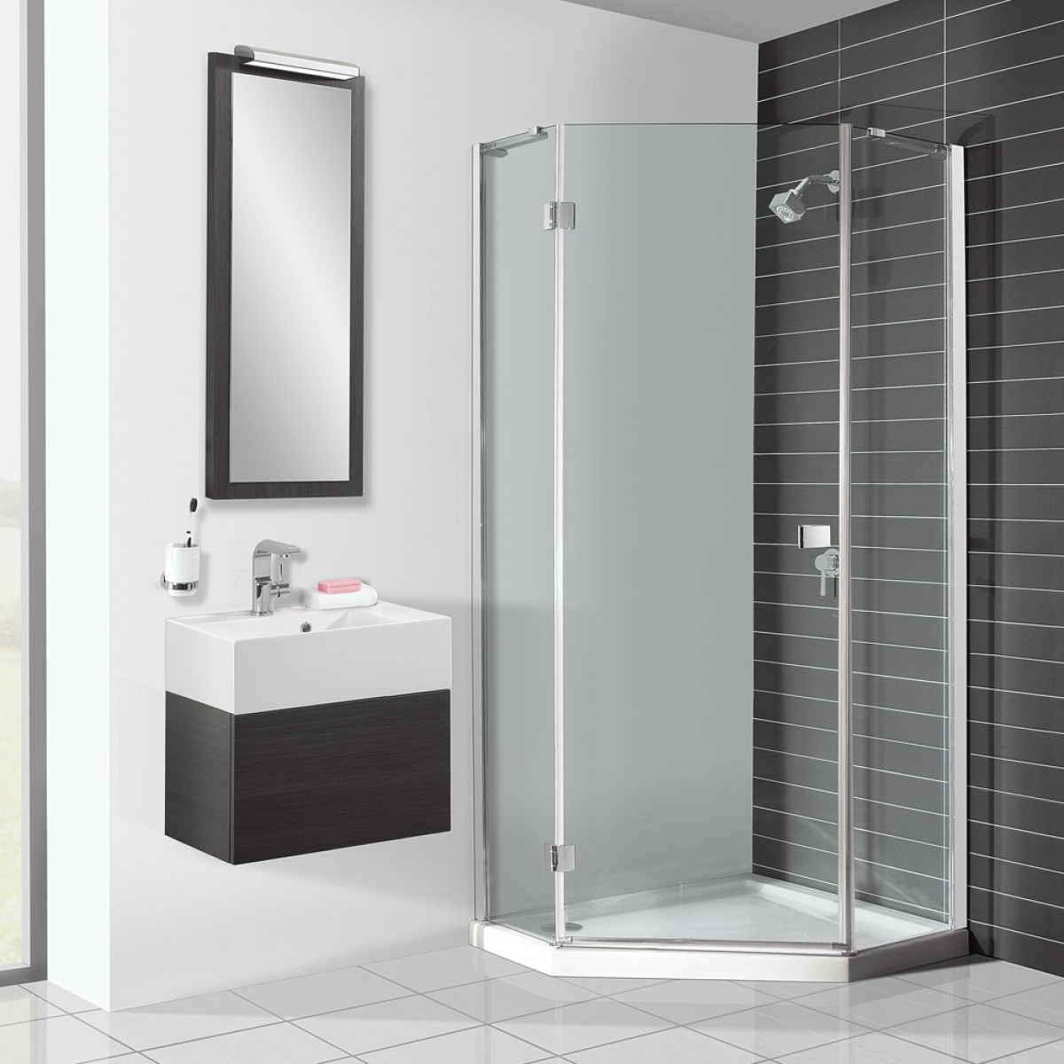 White and Grey Sink with Corner Shower