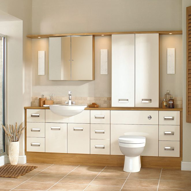 Cream and Brown Bathroom with White Toilet and Sink