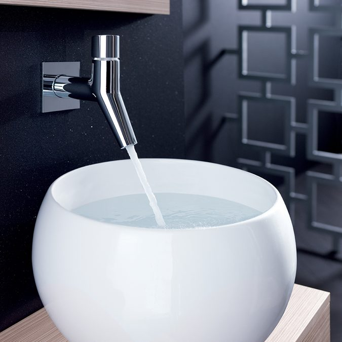 Wall Tap with Large Oval Sink