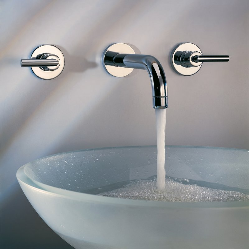 Oval Clear Glass Basin with Wall Taps