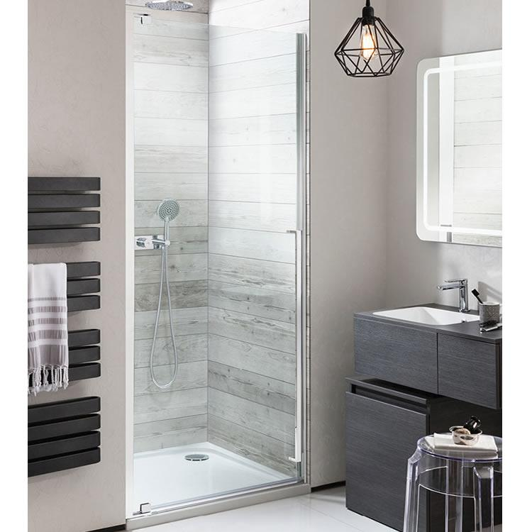 Small Shower with Grey Sink and Grey Towel Rail