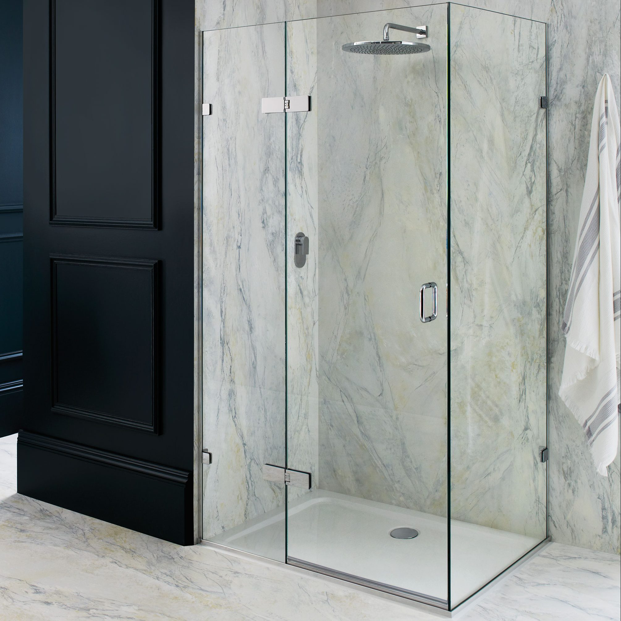 Rectangle Corner Shower with Large Glass Doors