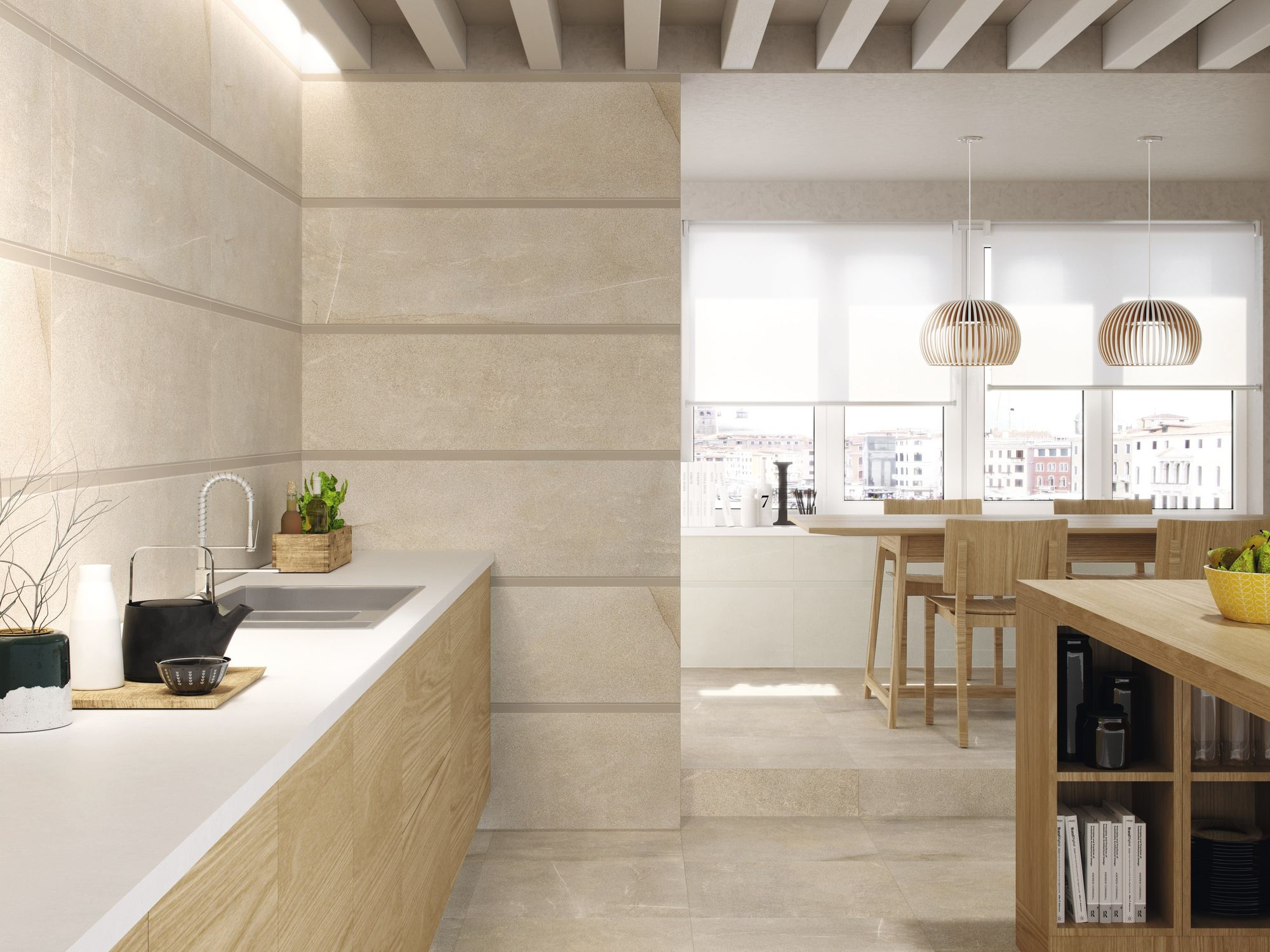 Large Beige Open Kitchen and Dining Room