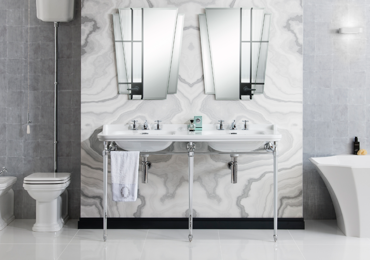 Double Sinks with Mirrors on the Wall on Marble Style Wall