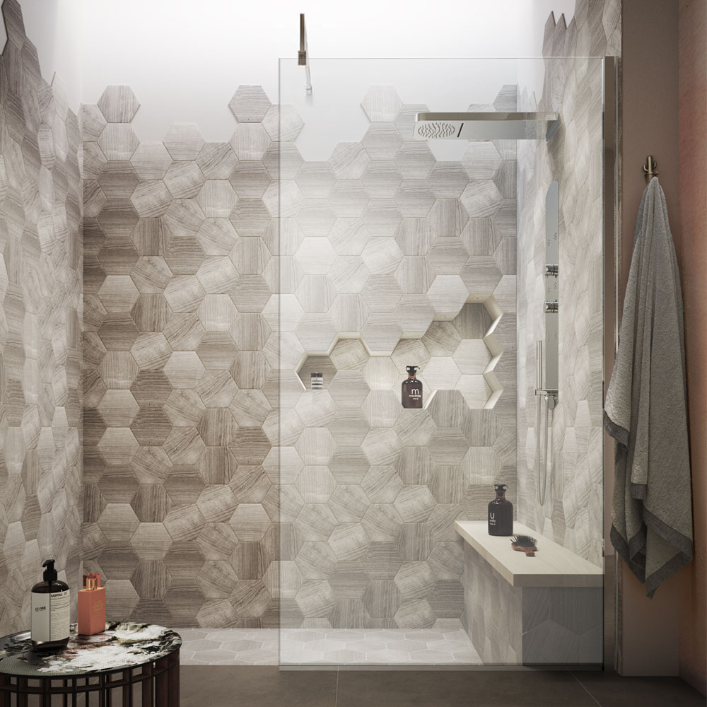 Walk in Shower with Wooden Octagon Tiles