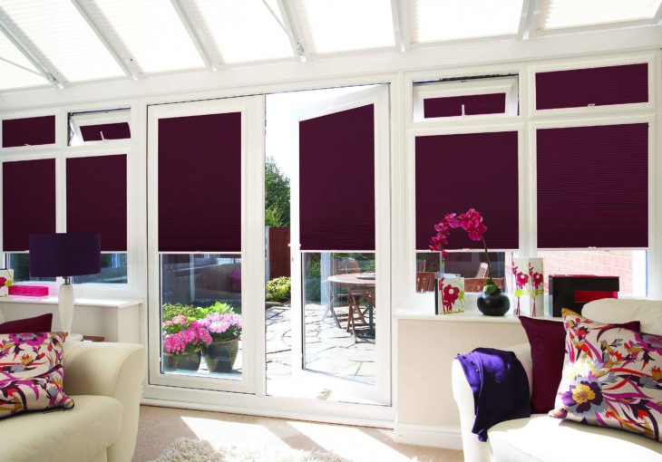 Pleated Shot Silk Burgundy Blinds