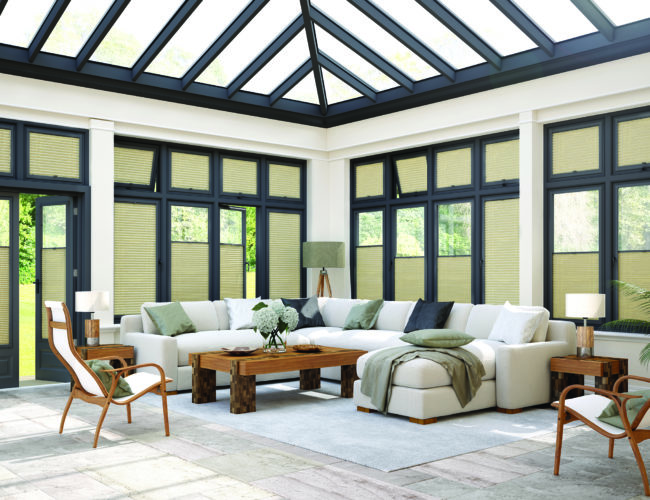 Strata Poplin Anthracit perfect fit blinds in a conservatory