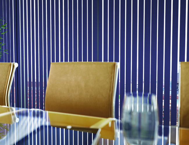 Colourtex Azure Cameo blinds in a meeting room