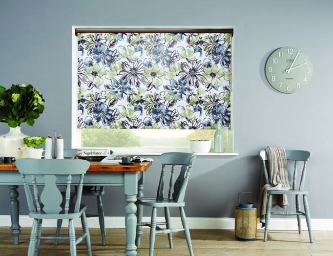 Bloom Amelie Bronze Roller Blinds in a dining room