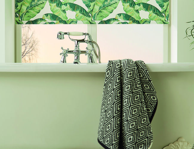 Palm Leaf roller blinds in a bathroom