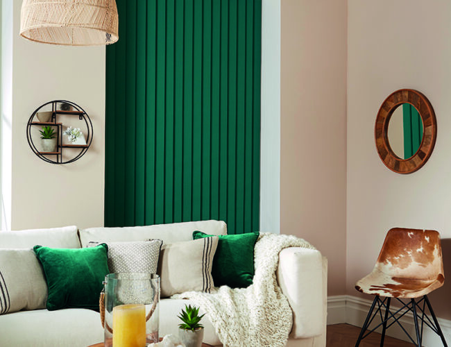 Emerald Black vertical blinds in a living room