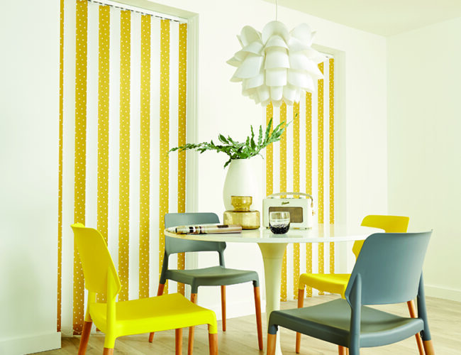 Vertical blinds in dining area