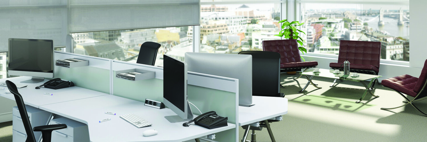 Shale grey blinds in an office