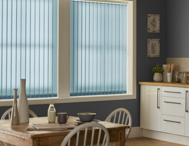 Kitchen with vertical blinds