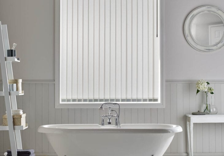 Bathroom with vertical blinds