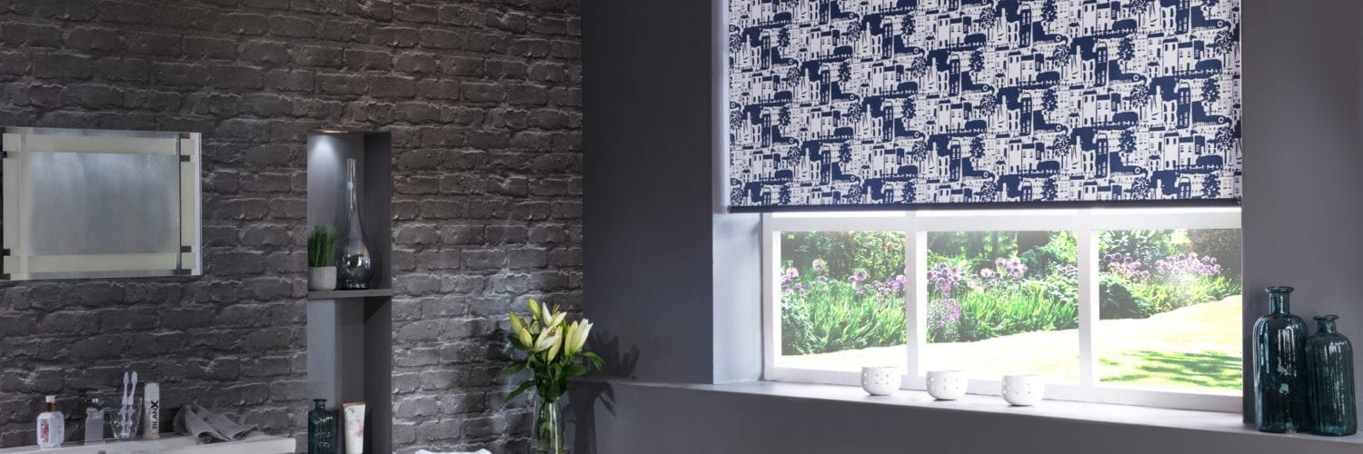 Whitby Blackout Modern Navy roller blinds in a bathroom