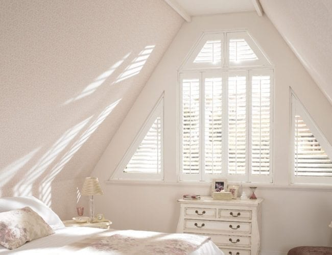 Attic bedroom plantation shutters
