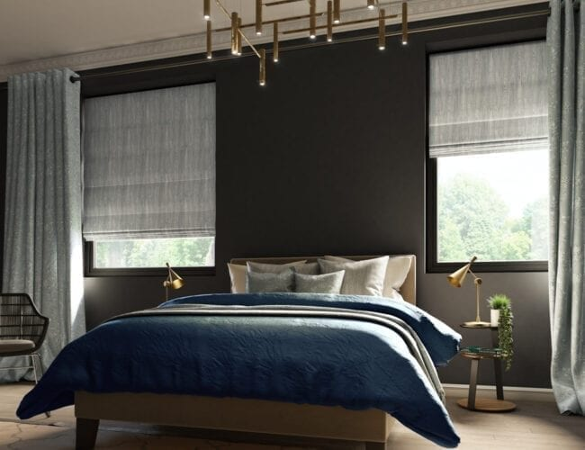Roman blinds in a chic bedroom