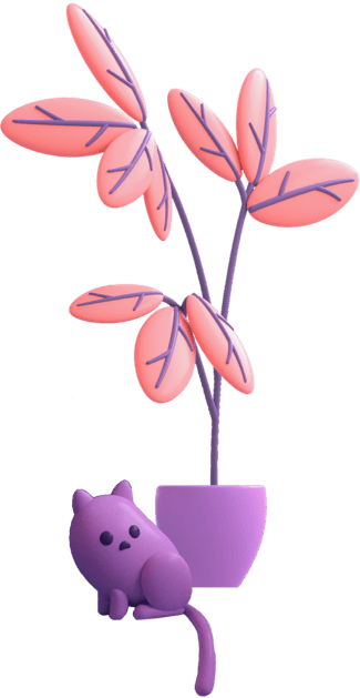 Character cat next to a plant