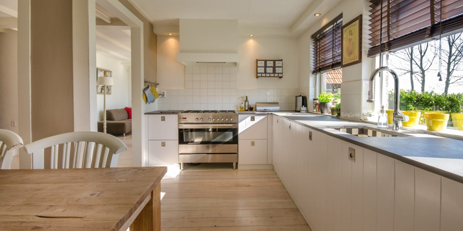 Open plan kitchen in a new build house