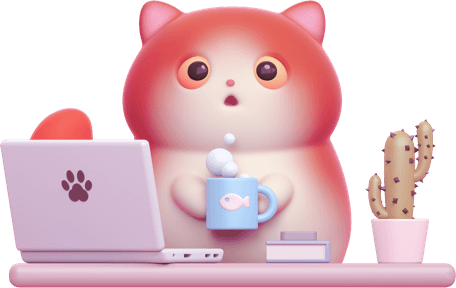 Character cat sat at a desk using a laptop