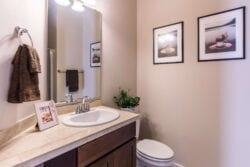 White and cream bathroom with vanity sink