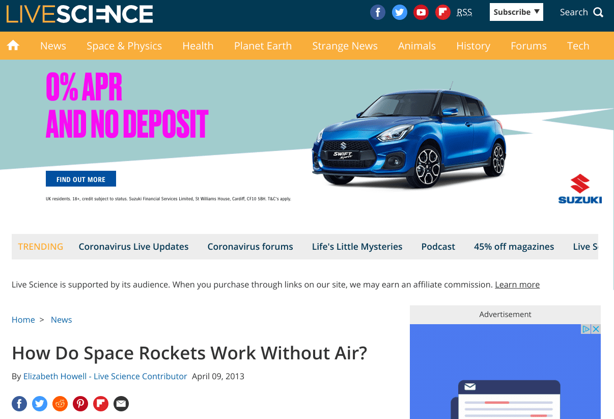 Live Science Rocket Page Load After Click