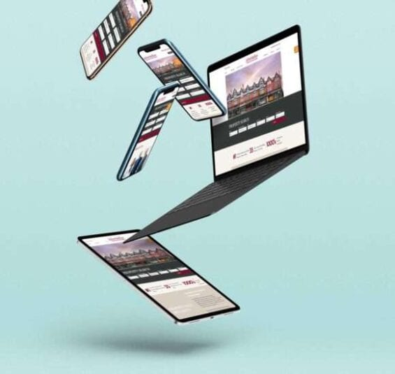 Web design displayed on multiple devices